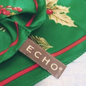 Silk Scarf Christmas Themed. Green Holly